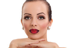 Beautiful young woman posing  with bright red lips Royalty Free Stock Photos