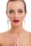 Beautiful young woman posing  with bright red lips and  jeweller Stock Image