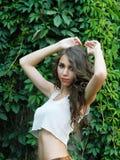 Beautiful young woman,posing in city of Sighisoara,Romania Stock Photography