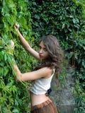 Beautiful young woman,posing in city of Sighisoara, Romania. Royalty Free Stock Photos