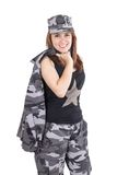 Beautiful young woman posing with gray military Royalty Free Stock Photo