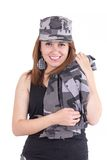 Beautiful young woman posing with gray military Stock Photo