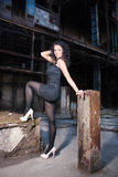 Young woman in old factory Stock Photos