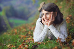 Beautiful young woman posing outdoor. In the countryside . Seasonal and outdoor portrait Stock Photo