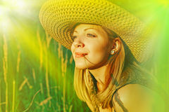Beautiful young woman posing outdoor. Portrait of Girl in the sunshine Stock Image