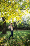 Beautiful young woman posing under the beech tree in autumn natu Royalty Free Stock Photography