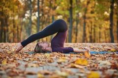 Beautiful young woman practices yoga asana Halasana Plough pose on the wooden deck in the autumn park. Stock Photos