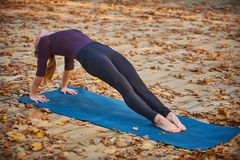 Beautiful young woman practices yoga asana Purvottanasana Upward Plank Pose on the wooden deck in the autumn park. Beautiful young woman practices yoga asana Stock Images