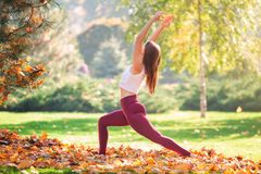 Beautiful Young Woman Practicing Yoga In The Park Stock Photo