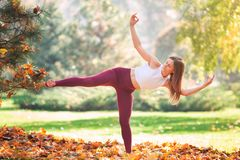 Beautiful Young Woman Practicing Yoga In The Park Stock Photography