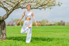 Beautiful young woman is practicing yoga near blossom tree at the park stock photo