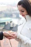 Beautiful young woman in Prague Stock Image