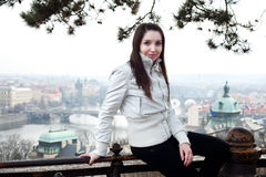 Beautiful young woman in Prague Royalty Free Stock Images