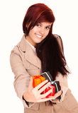 Beautiful young woman with present boxes Stock Photo