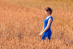 Beautiful young woman with pretty dress in nature. The blue of the dress is the only blue in the picture - perfect for coloration Stock Image