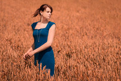 Beautiful young woman with pretty dress in nature. The blue of the dress is the only blue in the picture - perfect for coloration. The model looks to the copy Royalty Free Stock Photos