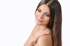 Beautiful young woman with pure skin and strong healthy bright h Stock Photo