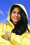 Beautiful young woman in raincoat Stock Photo