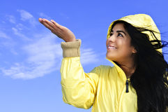 Beautiful young woman in raincoat Royalty Free Stock Photo
