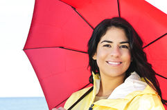 Beautiful young woman in raincoat with umbrella Royalty Free Stock Photo