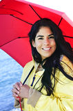 Beautiful young woman in raincoat with umbrella Royalty Free Stock Photography