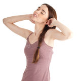 Beautiful young woman with raised arms Stock Photography