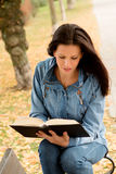 Beautiful young woman reading a book in park at fall. Beautiful young woman reading a book sitting on a bench in park at fall Stock Photo