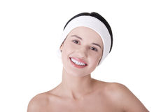Beautiful young woman ready for skin treatment. Beautiful young woman with perfect body ready for skin treatment. Skin care concept Stock Photography