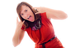 Beautiful young woman rebel gesture Stock Image