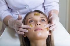 Beautiful young woman receiving facial massage Royalty Free Stock Photos