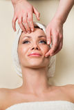 Beautiful young woman receiving facial massage. Stock Photos