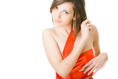 Beautiful young woman in red Stock Photos