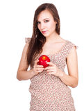 Beautiful young woman with red apple Stock Image