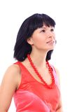 Beautiful young woman with red beads Stock Image
