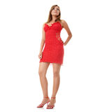 Beautiful young woman in red dress Royalty Free Stock Photos