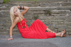Beautiful young woman in red dress Royalty Free Stock Image
