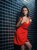 Beautiful young woman in a red dress Royalty Free Stock Image