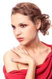 Beautiful young woman in red dress Stock Photography