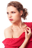 Beautiful young woman in red dress Stock Photos
