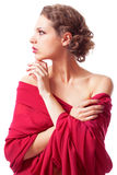 Beautiful young woman in red dress Royalty Free Stock Photography