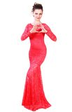 Beautiful young woman in a red evening dress Royalty Free Stock Photo