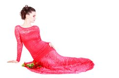 Beautiful young woman in a red evening dress Royalty Free Stock Images