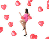 Beautiful young woman with red heart balloon Royalty Free Stock Images