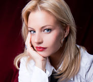 Beautiful  young woman  with red lipstick Stock Photo