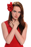 Beautiful Young Woman With Red Rose Royalty Free Stock Photography
