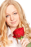 Beautiful Young Woman With Red Rose Stock Images