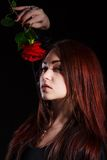 Beautiful young woman with a red rose. Over black background Stock Photography