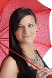 Beautiful young woman with red umbrella Stock Images