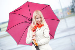 Beautiful Young Woman With Red Umbrella Stock Photography