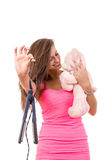 Beautiful young woman refuses to grow up holding teddy bear Royalty Free Stock Image
